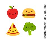 cute cartoon icons with smiling ... | Shutterstock .eps vector #319103702