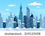 winter city skyscraper view...