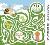 children's game  maze   bee... | Shutterstock .eps vector #319136402