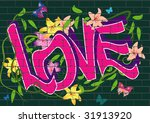Vector Graffiti With Flowers...