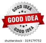 good idea 3d silver badge with... | Shutterstock .eps vector #319179752