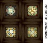 set of wooden vs ceramic tiles  ... | Shutterstock .eps vector #319181282