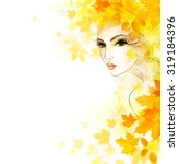 beautiful woman in autumn... | Shutterstock .eps vector #319184396