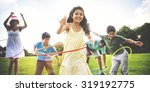 family hula hooping relaxing... | Shutterstock . vector #319192775