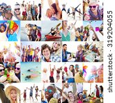 collage diverse faces summer... | Shutterstock . vector #319204055