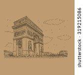 arc de triomphe  paris  france. ... | Shutterstock .eps vector #319215086