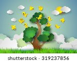bird flying around a tree ... | Shutterstock .eps vector #319237856