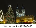 Lighted Christmas tree on the Old Town Square in Prague. Old Town Square at Christmas time, Prague, Czech Republic.
