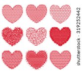 set of red hearts for design... | Shutterstock .eps vector #319252442