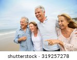 senior people walking on the... | Shutterstock . vector #319257278