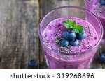 blueberry smoothie with chia... | Shutterstock . vector #319268696