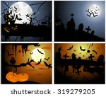 set of halloween greeting cards.... | Shutterstock .eps vector #319279205
