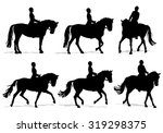 Horse And Rider Silhouette Set...
