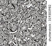 cartoon hand drawn doodles on... | Shutterstock .eps vector #319303982