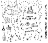 birthday elements. hand drawn...