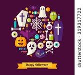 vector flat style halloween...   Shutterstock .eps vector #319317722