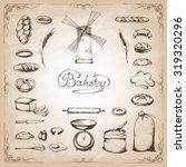 vintage bakery poster. freehand ... | Shutterstock .eps vector #319320296