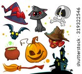 vector set of halloween pumpkin ... | Shutterstock .eps vector #319322546