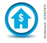 dollar house icon  blue  3d ...