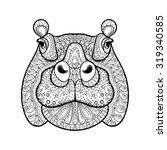 Hand Drawn Tribal Hippopotamus...