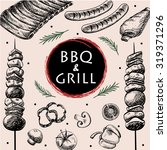 barbecue grill meat food and... | Shutterstock .eps vector #319371296