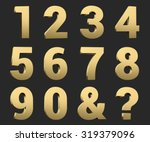 3d gold copper metal number set ... | Shutterstock . vector #319379096