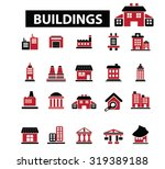 buildings  houses icons | Shutterstock .eps vector #319389188