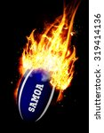 samoa rugby ball against smoke | Shutterstock . vector #319414136