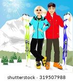 portrait of happy couple skiers ... | Shutterstock .eps vector #319507988