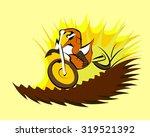 motorcycle racer on motocross... | Shutterstock .eps vector #319521392
