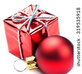 red  gift box with silver ... | Shutterstock . vector #319535918