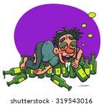 cartoon drunk guy lying  on...