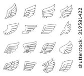 wings outline gray icons vector ... | Shutterstock .eps vector #319581422