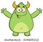 Funny Horned Green Monster...