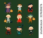 children in halloween costumes... | Shutterstock .eps vector #319630676