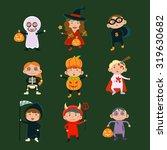 children in halloween costumes... | Shutterstock .eps vector #319630682