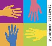 hands in hand pop art in... | Shutterstock .eps vector #319639652