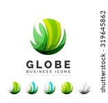 set of globe sphere or circle... | Shutterstock .eps vector #319645862