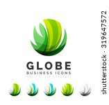 set of globe sphere or circle... | Shutterstock . vector #319647572