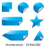 set of blue vector stickers...