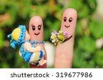 finger art of happy family... | Shutterstock . vector #319677986
