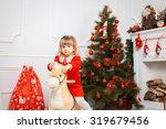 little girl in a red dress near ... | Shutterstock . vector #319679456