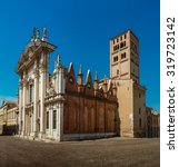 Small photo of Mantua Cathedral (Cattedrale di San Pietro apostolo, Duomo di Mantova) in Mantua, Lombardy, northern Italy, is a Roman Catholic cathedral dedicated to Saint Peter. It is the seat of Bishop of Mantua.