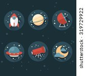 stylish flat space icons | Shutterstock .eps vector #319729922