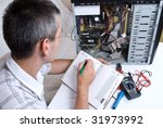 it engineer working | Shutterstock . vector #31973992
