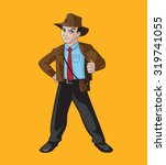 explorer man with shirt and tie ... | Shutterstock .eps vector #319741055