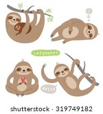 set sloths. funny and cute lazy | Shutterstock .eps vector #319749182