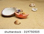 several beautiful seashells and ... | Shutterstock . vector #319750505
