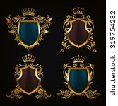 set of golden royal shields for ... | Shutterstock .eps vector #319754282