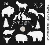 hand drawn wilderness animals... | Shutterstock .eps vector #319756262